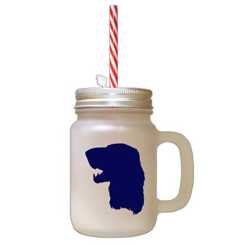 Navy Irish Setter Silhouette Frosted Glass Mason Jar With Straw