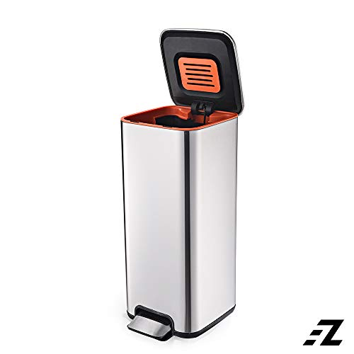 EZ FunShell Odor Filter SS ABS 30 L Stainless Steel Square Pedal Trash Bin & Soft Close with PP Inner Bucket, 30 Liters, Silver