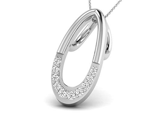 Or Blanc 14 ct Pendentifs Diamant en forme de Poire, 0.03 Ct Diamant, GH-SI, 0.42 grammes.
