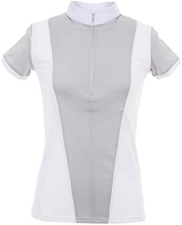 CAVALLIERA フレイア テクニカル ショーシャツ 半袖 レディース グレーホワイト