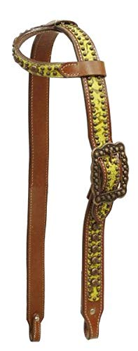 (Showman Single Ear Filigree Print Belt Style Headstall with Antique Bronze Hardware and Studs)