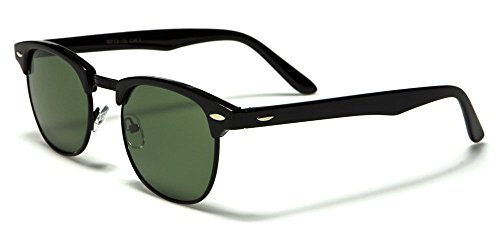 921 Glasses (Black Black Style Half Frame Sunglasses Shades Vintage Classic Aviator)