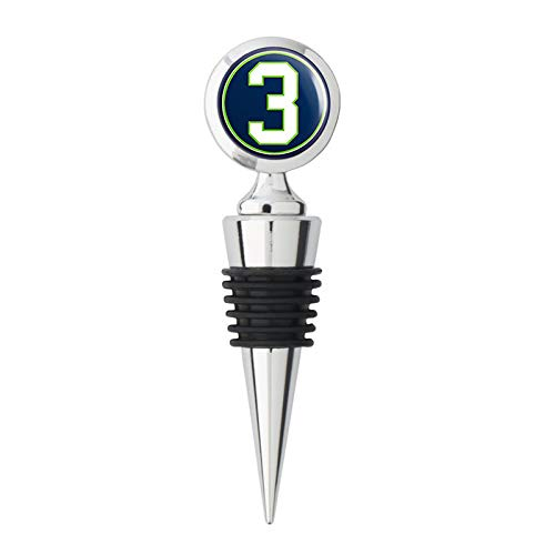 Wine Stopper Design Sea Bottle - Round #3 Russell Wilson Seahawks Colors (seattle football number) Metal Wine Bottle Stopper