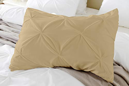 Kotton Culture Set of 2 Pillow Shams Pinch Pleated 100% Egyptian Cotton 600 Thread Count Super Soft Decorative Hotel Class Bedding (Queen/Full/Twin (20X30 Inches), Taupe)