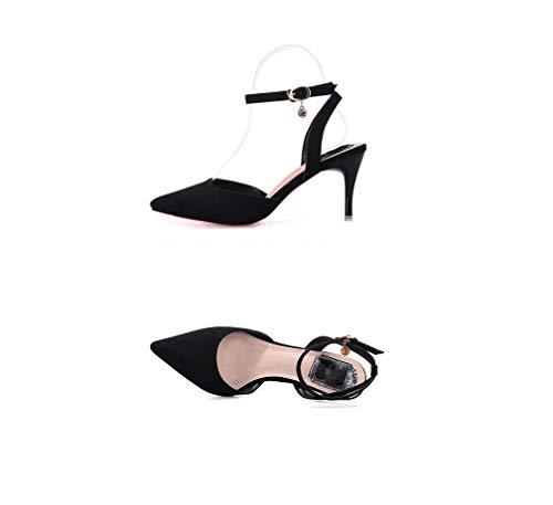 Boda Sexy Súper Solo Formal Fiesta Negro Un Zapatos Liangxie Sólido color Serie Puntiagudas sandalias Tacones Zhhzz Confort Señoras Hebilla Clásica De Carácter Altos wPnYnfaZ