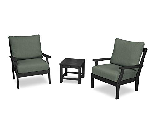 (Trex Outdoor Furniture Yacht Club Deep Seating Set, Charcoal Black/Cast Sage)