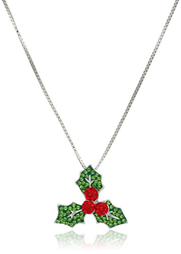 Holly Leaves Pendant (Sterling Silver Holly Leaf Made with Swarovski Elements Pendant Necklace, 18
