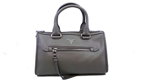 Prada Women's Argilla Gray Bauletto Vitello Phenix Leather Tote Satchel Handbag 1BB022