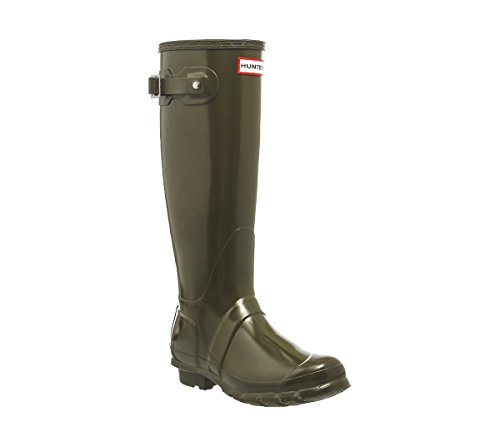 Hunter Womens Original Tall Gloss Synthetic Boots Swamp Green