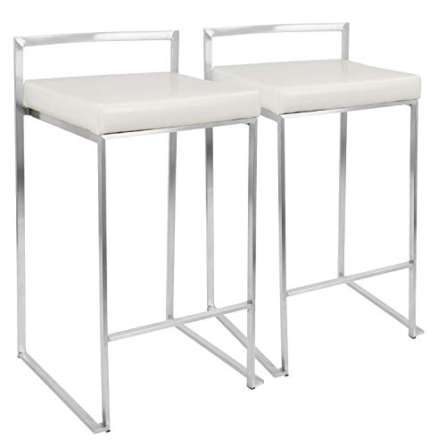 "WOYBR CS W2 Pu Leather, Stainless Steel Fuji Counter Stool (Set of 2), 31"" x 17.5"" x 16"", White"