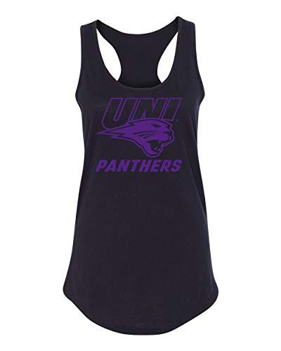 CornBorn Northern Iowa Panthers Tank Top - Women's Racerback UNI Panthers Logo on Black - Black - Medium