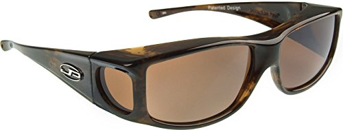 Fitovers Eyewear - Jett Collection Designed to Fit Over Medium Oval Frames Not Exceeding 143mm X 39mm - Brown Marble with Stones/polarized - Gray Brown Sunglasses Vs