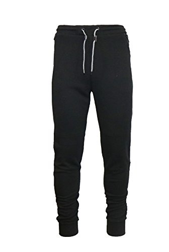 Galaxy by Harvic Mens Tech Fleece Joggers - Cotton Blend Fabric - Black, Size Small ()