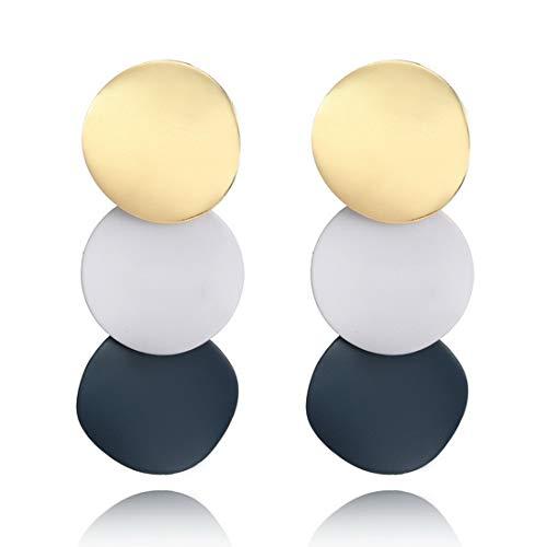 CrownUS Women Round Metal Uneven Earrings Geometric Shining Zinc Alloy Earstud Ear Jewelry Gift for Girls ()