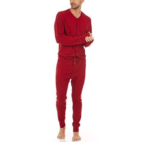 Minus33 Merino Wool Clothing Men's Midweight Wool Union Suit, True Red, X-Large