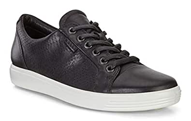 ECCO Women's Soft Perforated Fashion Sneaker, Black Nubuck, 35 EU/4-4.5 M US