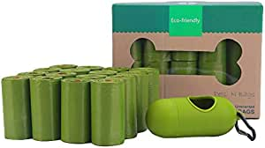 Biodegradable Poop Bags (240 Bags), with Dispenser, 16 Rolls, Ecofriendly Dog Waste Bags