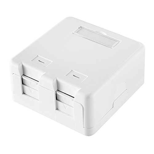 LINKOMM 5 Pack 2-Port Blank Keystone Jack Surface Mount Box with Dust Shutter, (Surface Mounted Modular Jack)