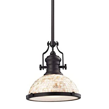 17-Inch H By 6-Inch W Landmark Oiled Bronze And Cappa Shell Elk 66432-1 Chadwick 1-Light Pendant