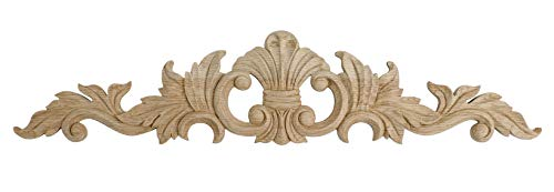 - 6-1/2 in. x 30 in. x 3/4 in. Unfinished Hand Carved North American Solid Red Oak Wood Onlay Acanthus Wood Applique