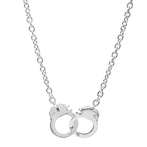 Spinningdaisy High Gloss Finish Silver Plated Handcuff Pendant Necklace