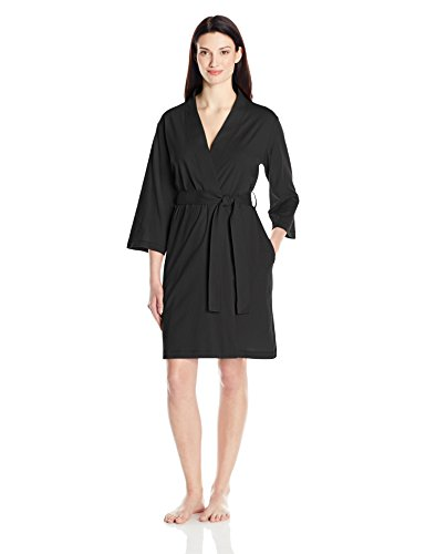 Amazon Essentials Women's 100% Cotton Robe, Black, Small