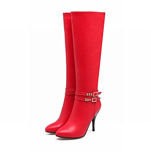Heel Red Buckle Womens Knee Foot High Charm Zipper Boots High Fashion Stiletto xO16PqCwP