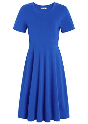 Pintage Women's Short Sleeves Crew Neck Knee Length Skater Dress XL Royal Blue