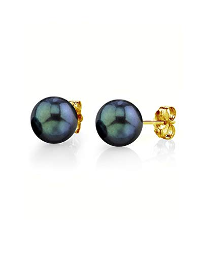 (THE PEARL SOURCE 14K Gold 7.5-8mm Round Black Cultured Akoya Stud Pearl Earrings for Women)