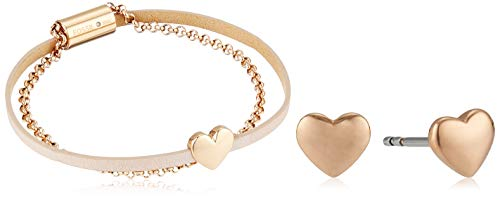 (Fossil Women's Heart Rose Gold-Tone Stainless Steel Studs and Bracelet Box Set, One Size)