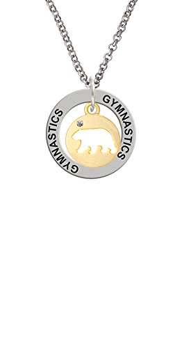 Gold Tone Bear Silhouette - Gymnastics Affirmation Ring Necklace