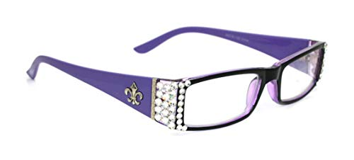 (The French, Rectangular Fleur De Lis Purple Women Reading Glasses Adorned With Clear SWAROVSKI Crystals +1.50 +2.00 +2.50 +3.00)