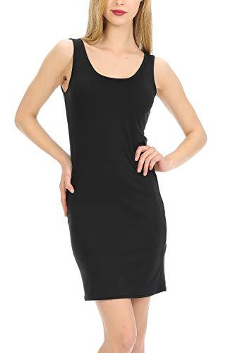 - MINEFREE Women's Scoop Neck Slim Fit Stretchy Bodycon Tank Mini Dress Black L