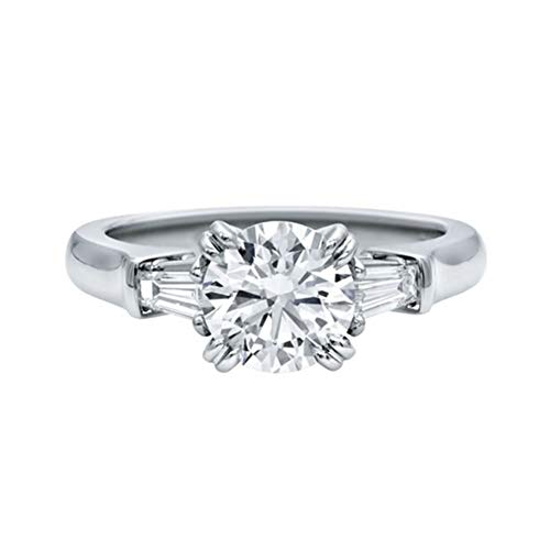 Round 3 Stone Ring Setting - AINUOSHI Round Cut 3 Stone Ring Baguette 2 Carat Cubic Zirconia CZ Engagement Solitaire Sterling Silver Band Jewelry (5)