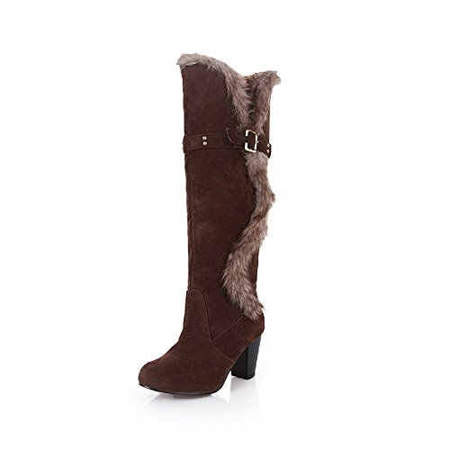1TO9 Womens Chunky Heels Fur Ornament Buckle Soft Material Boots