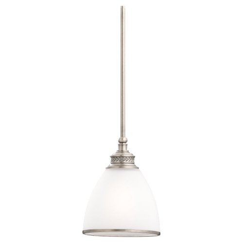 Sea Gull Lighting 61350-965 One-Light Mini-Pendant, Etched Ripple Glass Shade with Band, Antique Brushed Nickel