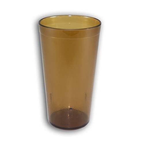 New, 16 oz. Restaurant Tumbler Beverage Cup, Stackable Cups, Break-Resistant Commmerical Plastic, Set of 6 - (Amber Tumbler)