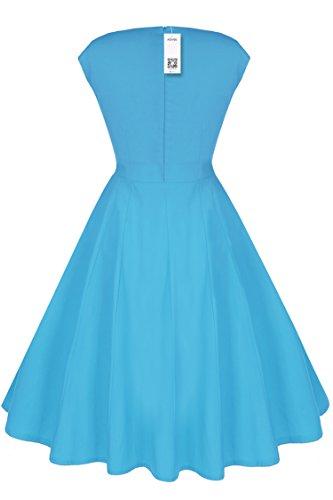 ACEVOG Vestido vintage años 50 con falda de vuelo y cuello baby doll para mujer Azul cielo