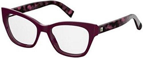 Max Mara Plastic Rectangular Eyeglasses 53 0GPL Plum Havana - Glasses Max Mara