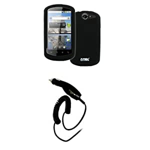 EMPIRE AT&T Huawei Impulse 4G Black Silicone Skin Case Cover + Car Charger (CLA) [EMPIRE Packaging]