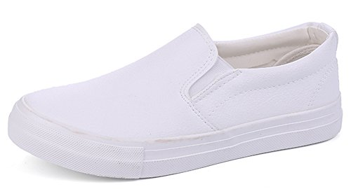 IDIFU Men's Antiskid Low Top Slip On PU Walking Loafers Shoes (White, 10 D(M) (Solid White Mens Shoe)