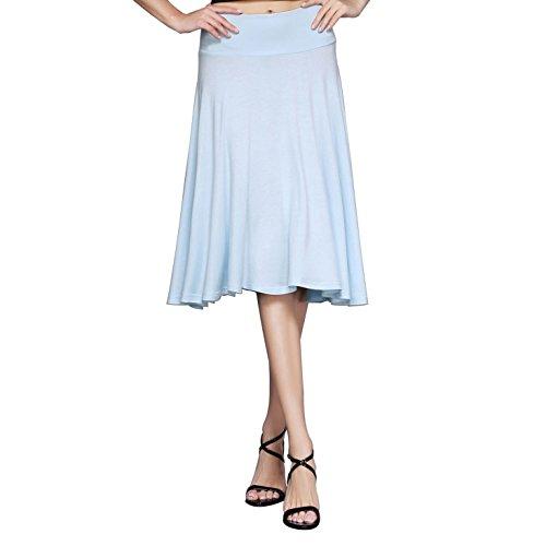 Blue Solid Skirt (HIKA Women's Solid Elastic Waist Flared Midi Skirt (X-Large, Baby blue))