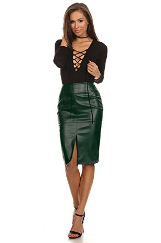 latest releases speical offer hottest sale MeshMe Womens Alicia - Hunter Green Faux Leather Front Slit