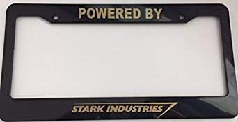 Strawbaru Powered by Stark Industries Automotive Black License Plate Frame