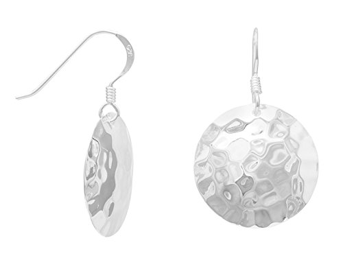 Hammered Sterling Silver French Wire Earrings, Round, 3/4 inch - Wire French Hammered Sterling Silver