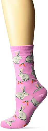 (Hot Sox Women's Originals Classics Novelty Crew Socks, Bunnies (Pastel Pink), Shoe Size: 4-10)