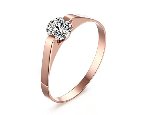 s Steel Cubic Zirconia Tension Set Rose Gold Plated Brilliant Wedding Engagement Ring,Size 5 (Engraved Tension Set Ring)