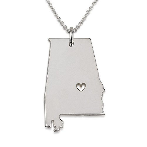 Sterling Silver Alabama State Charm (State Necklace Alabama State Charm Necklace Sterling Silver State Necklace with a Heart (20 Inches))