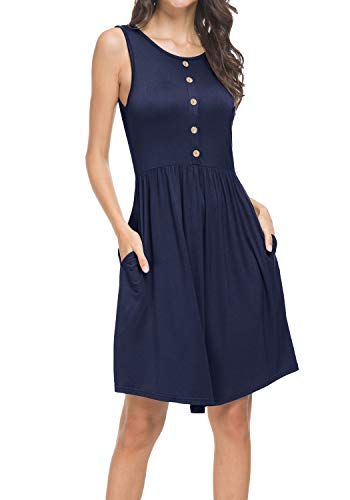 (Women's Summer Casual Loose Swing Pleated Knit T-Shirt Sundress Deepblue L)