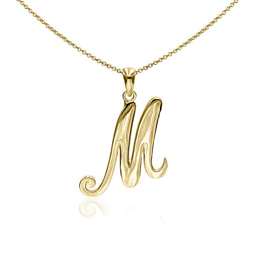 Sea of Ice Yellow Gold Flashed Sterling Silver Initial Alphabet Letters M Pendant Necklace, 18 - Gold Initials Ring